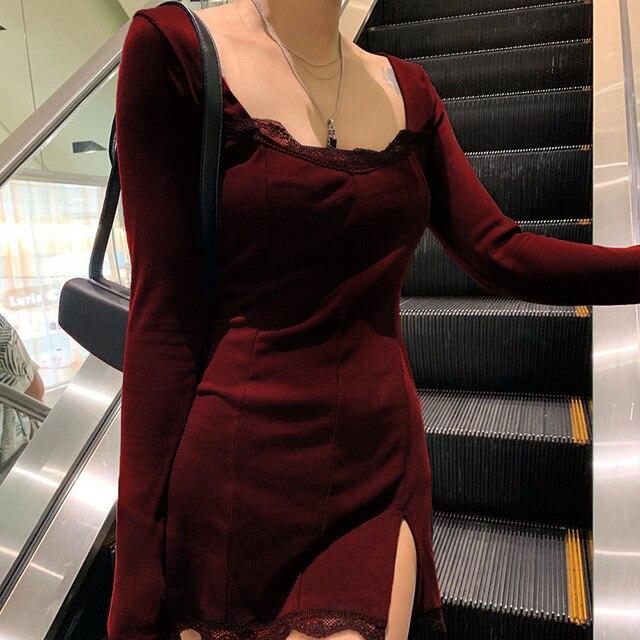 Darlingaga-vestido negro ajustado de retazos de encaje con cuello cuadrado para mujer, elegante Vestido corto de algodón a la moda con abertura lateral para otoño 3