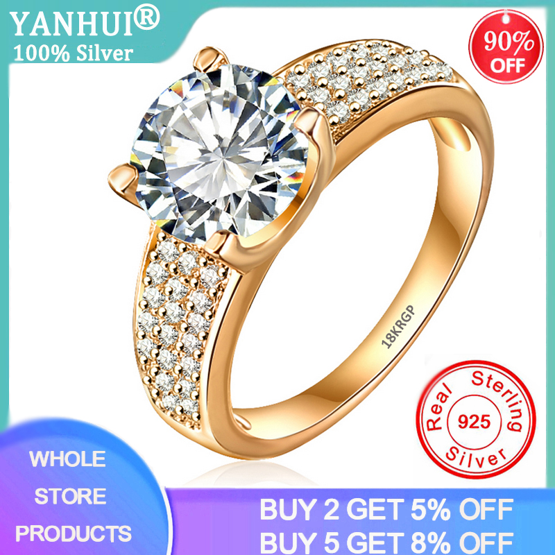 YANHUI Have 18K RGP Stamp Pure Solid Yellow Gold Ring Solitaire 2ct Lab Diamond Wedding Rings For Women Silver 925 Jewelry Ring