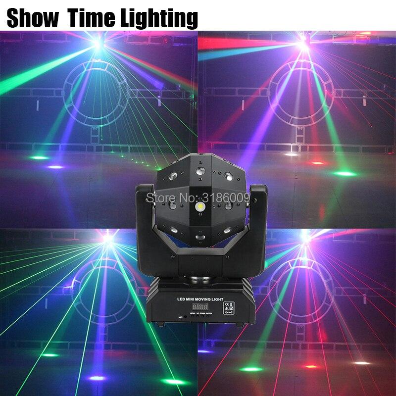Show Time Dj Disco láser Led estroboscópico 3 en 1 Luz de cabeza móvil rotación ilimitado buen efecto uso para fiesta KTV Night Club Bar Foco led portátil, recargable, batería 18650, luz de búsqueda para exteriores, Lámpara de trabajo para caza, Camping, linterna led COB