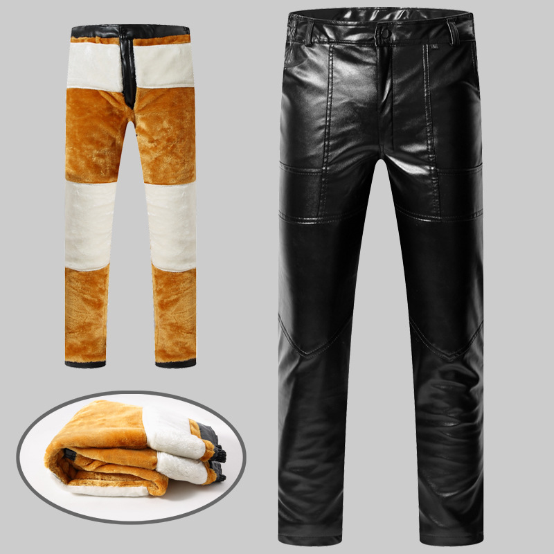 Men Leather Pants Brushed And Thick Warm Waterproof Pants Middle-aged Autumn Wear-Resistant Winter Fur Loose-Fit Motorcycle Pant