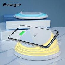 Essager Qi Drahtlose Ladegerät Für iPhone 11 Pro Xs Max Samsung Schnelle Wireless Charging Pad Dock Station Nacht Licht Telefon halter