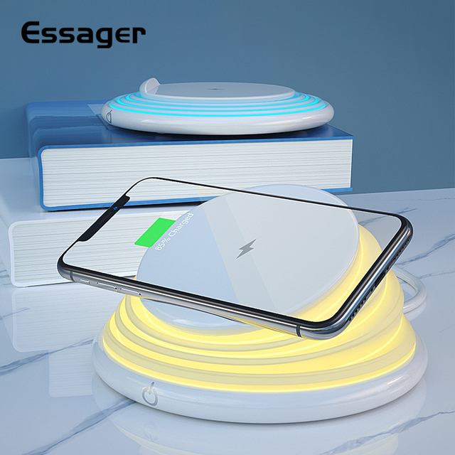 Essager Qi Wireless Charger สำหรับ iPhone 11 Pro XS MAX Samsung Fast Wireless CHARGING Pad Dock Station Light Night Light ผู้ถือ