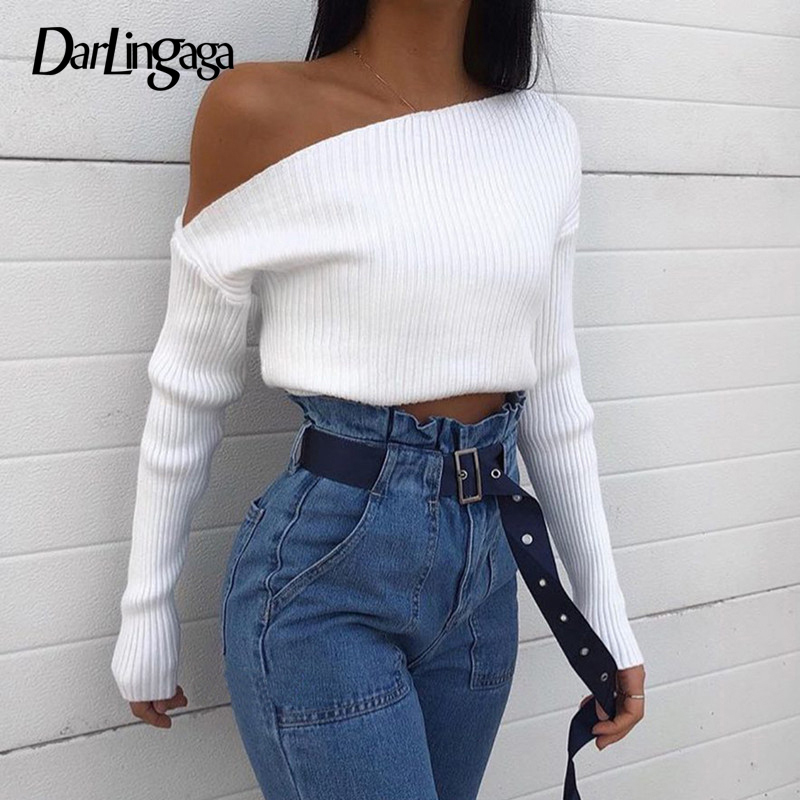 Darlingaga Oblique Collar Sexy Knitted Sweater Women Asymmetrical Pullovers One Shoulder Fashion Autumn Winter Sweaters Cropped