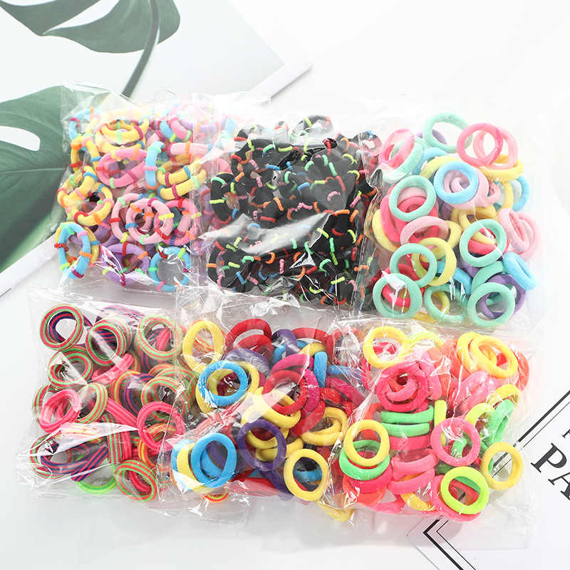 50 pièces/lot enfants élastiques bandes de cheveux filles enfants cheveux corde cheveux accessoires Scrunchy bandeaux élastique gomme pour cheveux