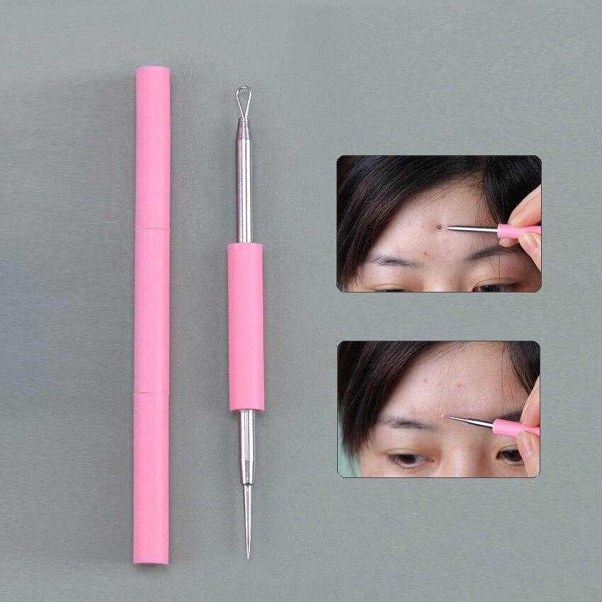 Agulhas removedoras de acne facial, extrator de espinhas e cravos, ferramenta de aço inoxidável, 1 peça