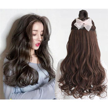 women long curly hair big wave one piece natural wig set U-shaped seamless extension cute Headwear