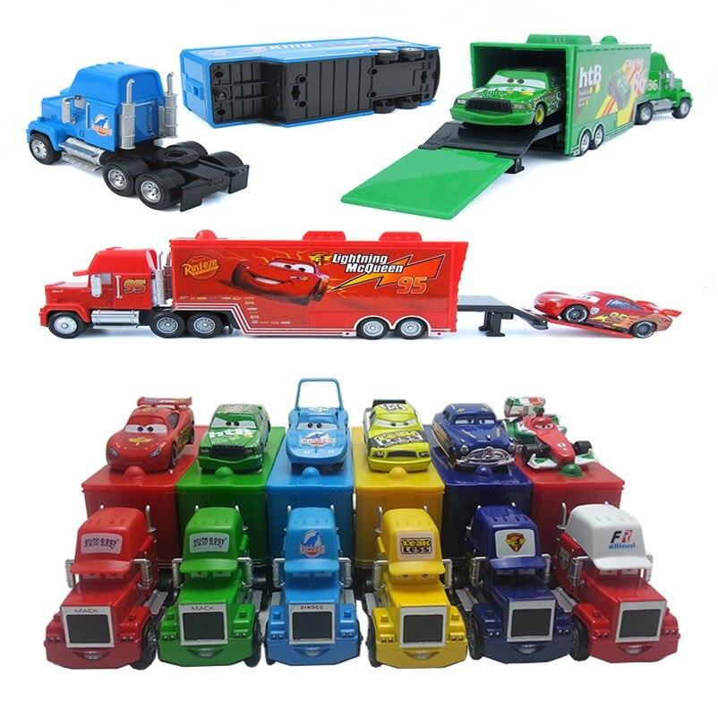 Disney pixar carros 3/2 relâmpago mcqueen 1:55 mack caminhão o rei diecast liga de metal modelo figuras brinquedos presentes para crianças marca brinquedo