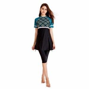 Image 2 - HAOFAN 2019 Neue Muslimische Bademode Frauen Modest Patchwork Volle Abdeckung Kurzarm Badeanzug Islamischen Hijab Islam Burkinis Tragen S 4XL