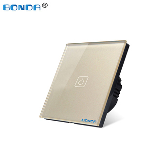 Image 5 - BONDA Touch Switch EU/UK standard White Crystal Glass Panel wall Switch, AC220V,1 Gang 1 Way, EU Light Wall Touch Screen Switch