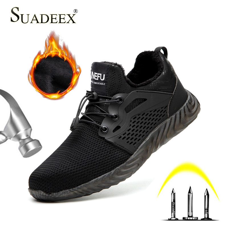 SUASEEX Safety Shoes Men Women Warm Winter Work Shoes Steel Caps Boots Puncture Proof Summer Winter Unisex Work Safety Boots