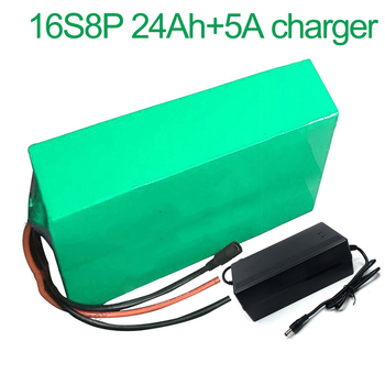 With 5A charger 60V 24Ah 16S8P 18650 Li-ion Battery electric two Three wheeled motorcycle bicycle  ebike 310*155*70mm