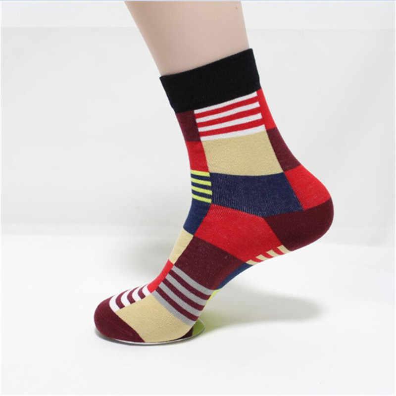 Новые горячие продажи хлопчатобумажные мужские носки осень-зима красочные в крупную клетку красочные носки мужские и мужские забавные носки подарок для мужчин
