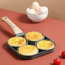 4 Hole Gas Stove Induction Cooker Fried Egg Burger Pan Non-stick Ham Pancake Maker Wooden Handle Suitable Kitchen Tools