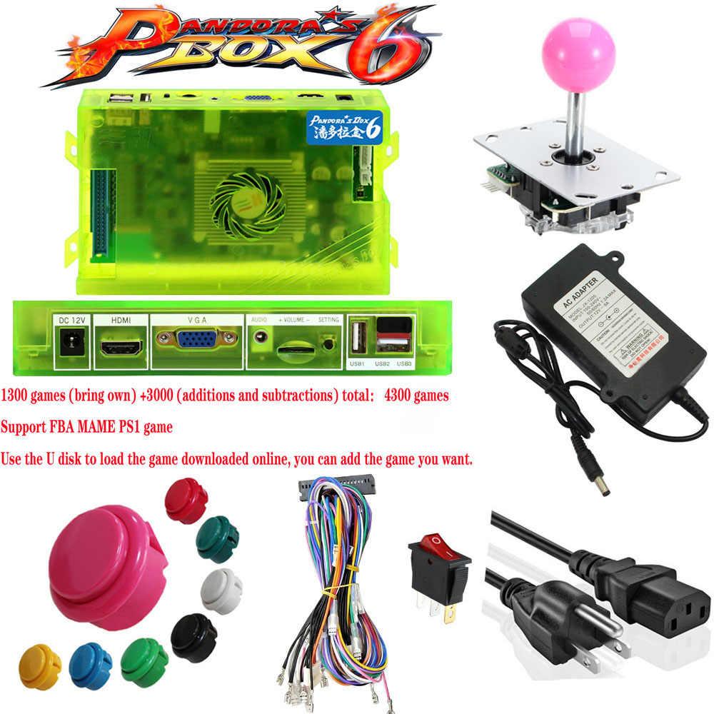 Boîte Pandora originale 6 1300 ensemble de jeux bricolage Kit d'arcade pousser Buuttons Joysticks Machine d'arcade 2 Joysticks paquet maison armoire