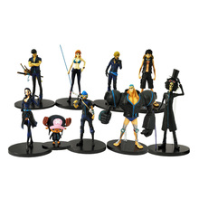 9 Styles/lot Anime One Piece Luffy Zoro Nami Sanji Chopper God Usopp Robin Franky Brook PVC Action Figure Model Toy