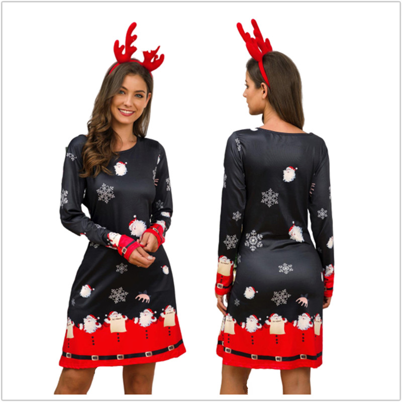 Winter Christmas Dresses Women Print Cartoon Dress Long Sleeve Casual Plus Size Midi Party Dresses Vestidos Robe