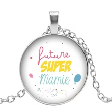 2019 New Creative Necklace Super Grandmother Grandfather Gift Glass Convex Round Personality Pendant Statement Necklace Jewelry 2019 new creative necklace green four leaf clover gift glass convex personality pendant necklace fashion jewelry
