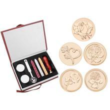 Conjunto de sellos de cera con estampado de rosas Vintage, caja de regalo, sello de sellado de sobres, reemplazo de cabeza de cobre, herramientas de Hobby