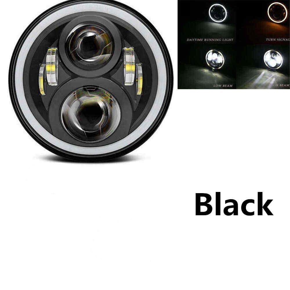 """Для lada Niva 4x4 suzuki samurai """" светодиодный DRL H4 галогеновые фары головного света для ВАЗ 2101 7 дюймовый светодиодный фар головного света с Halo Кольцо желтый сигнал поворота - Цвет: 50w Halo light Black"""