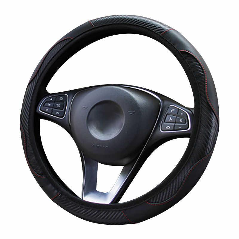 Araba direksiyon kılıfı nefes Anti kayma PU direksiyon kapakları uygun 37-38cm otomatik direksiyon simidi koruyucu dekorasyon