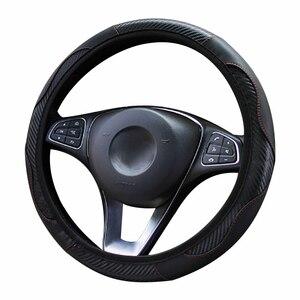 Image 2 - Osłona na kierownicę do samochodu oddychająca antypoślizgowa PU pokrowce na kierownice odpowiednie 37 38cm samosterujące koło do samochodu dekoracja ochronna