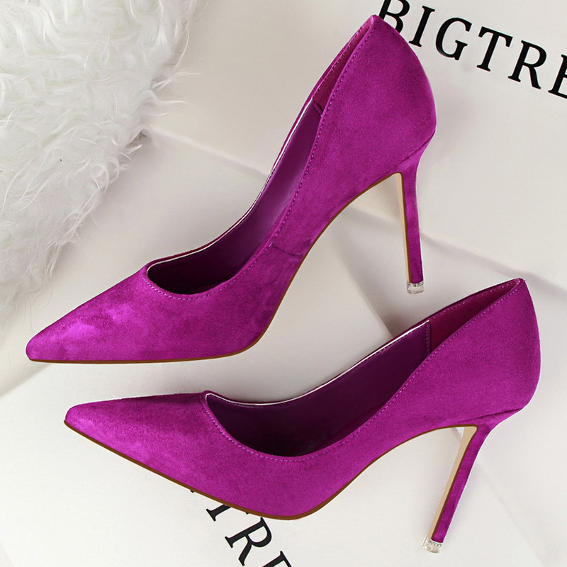 2020 High Heel Shoes Women Pumps Womens Heels Shoes Woman Heels Shoes Ladies Pumps Point Purple Wedding Party Shoes Office Pumps