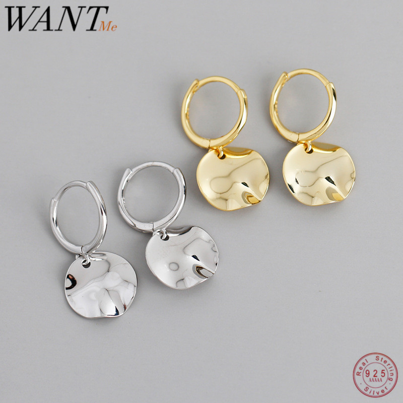 WANTME Real 925 Sterling Silver Geometric Round Uneven Stud Earrings for Women Minimalist Party Wedding Birthday Jewelry Gift