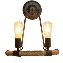 2 cabezas nórdicas retro moda moderna concisa balcón escalera lámpara semi-circular cuerda de cáñamo lámpara de pared