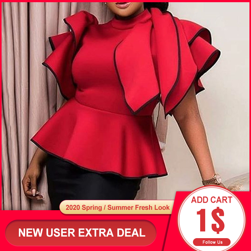 Red Falbaba Women Blouse Tops Summer African Ruffles Sleeve High Waist Female Shirts Elegant Office Lady Work Tops 2020 Blouses