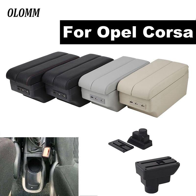 Pour Opel Corsa accoudoir boîte Opel Corsa D USB chargement central magasin contenu boîte de rangement avec support de verre dans les accessoires de voiture