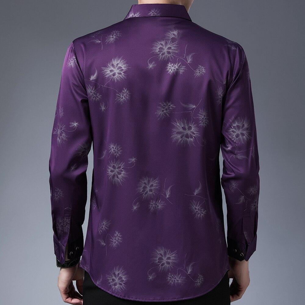 2020 Brand Long Sleeve Men Social Shirt Streetwear Casual Dandelion Shirts Dress Mens Slim Regular Fit Clothes Fashions 80503 2