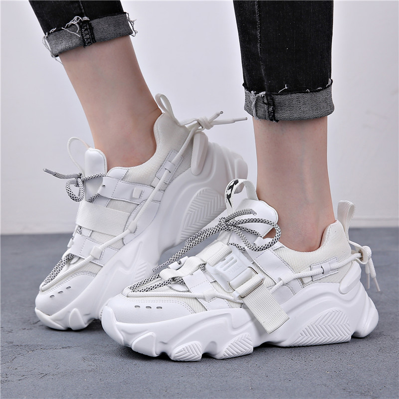 2020 Fashion Ladies Chunky Shoes Ladies Sports Shoes Footwear Leather Ladies Mesh Breathable Waterproof Platform Sports Shoes