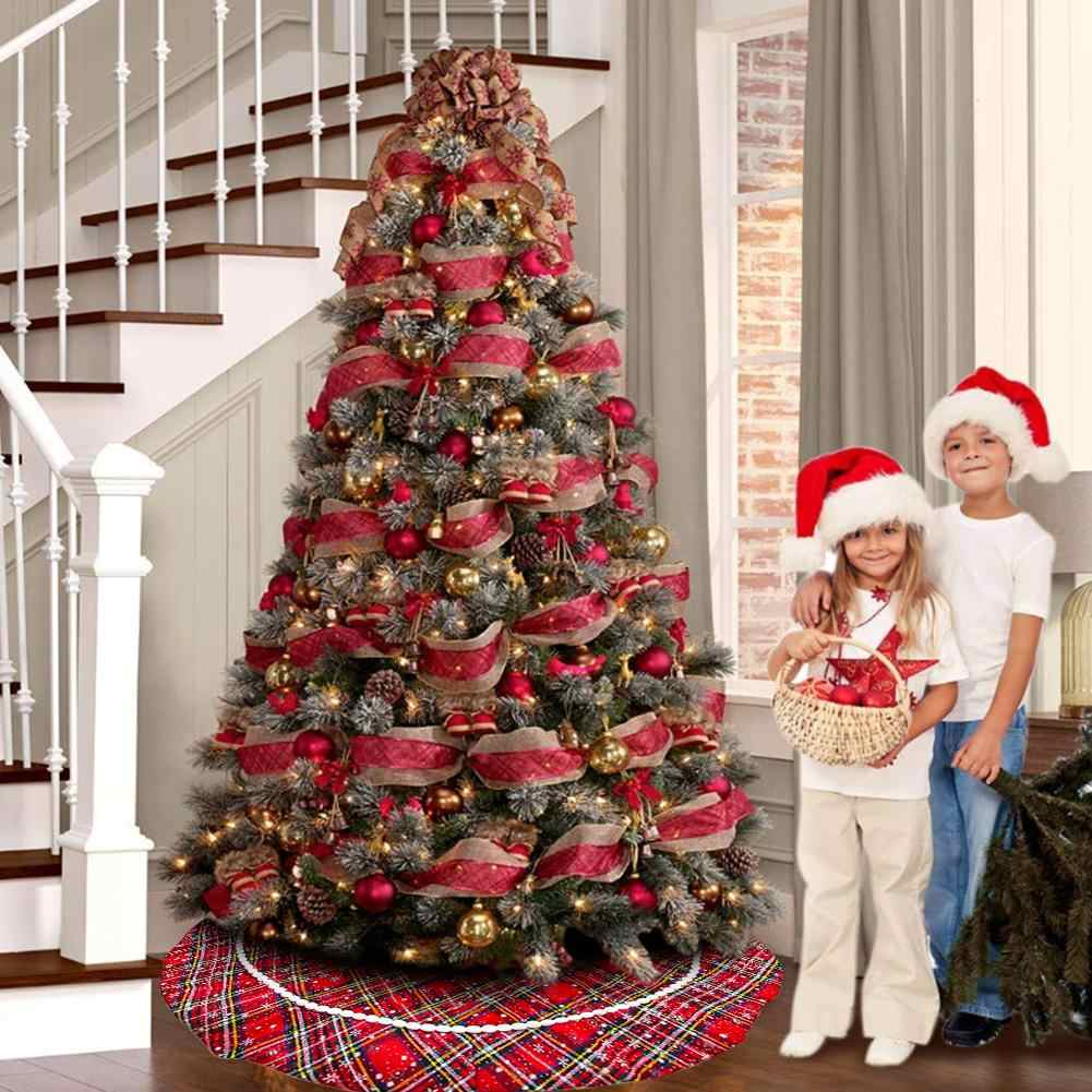 Plaid Christmas Tree Skirt Red Cloth Plaid Snowflake Tree Skirt Double Layers Xmas Tree Skirt For Holiday Christmas Decorations