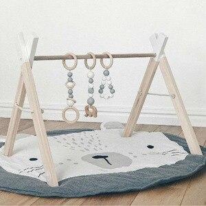 Image 5 - Tapis de jeu dessin animé Animal bébé tapis nouveau né infantile ramper couverture coton rond tapis de sol tapis tapis pour enfants chambre pépinière décor