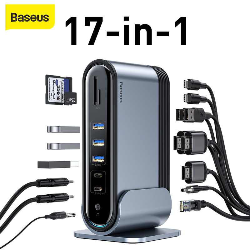 Baseus 17 in 1 Type-C <font><b>HUB</b></font> Adapter to Multi <font><b>HDMI</b></font> <font><b>RJ45</b></font> <font><b>VGA</b></font> <font><b>USB</b></font> <font><b>3.0</b></font> 2.0 with Power Adapter Working Docking Station for Notebook image