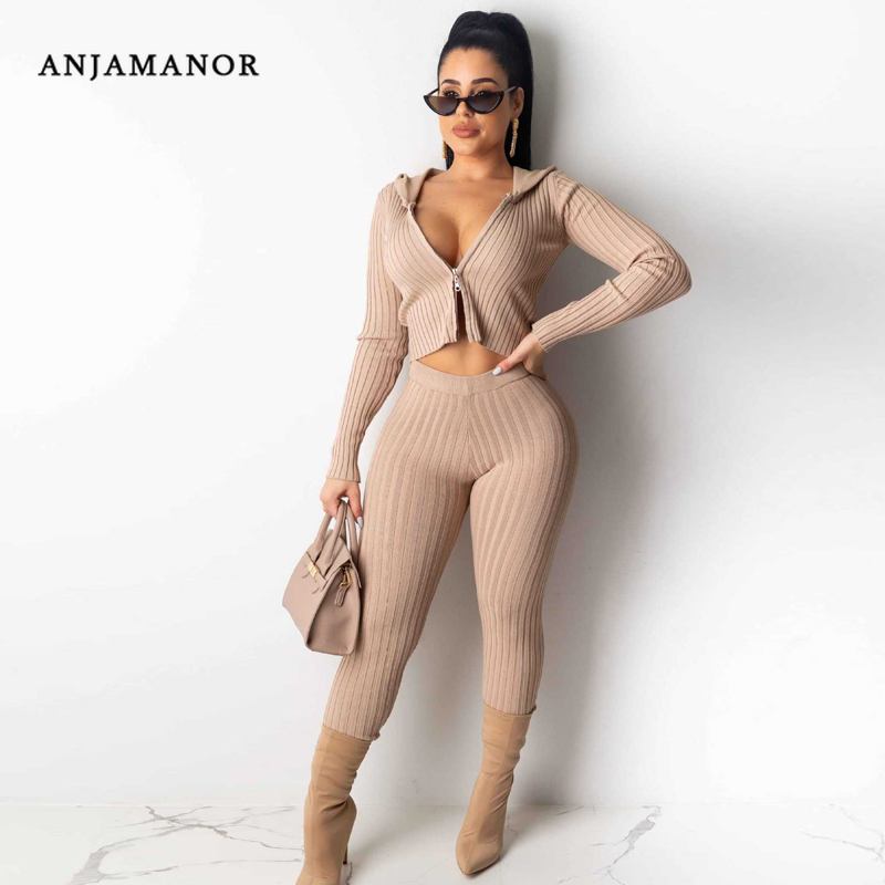 ANJAMANOR Sexy Knit Tracksuit Women Outfits Hoodies Sweater 2 Piece Joggers Set Fall Winter Two Piece Matching Sets D35-AG41