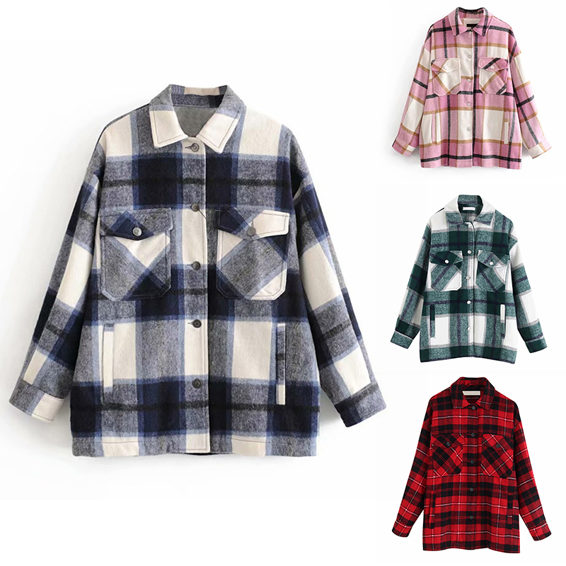 Coat Women Jacket Flaps-Button Overshirt Long-Sleeve Plaid Check with Tops Lapel-Collar title=