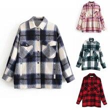 Plaid Overshirt Wool Blend Jacket Check Lapel Collar Long Sleeve Coat Women Over