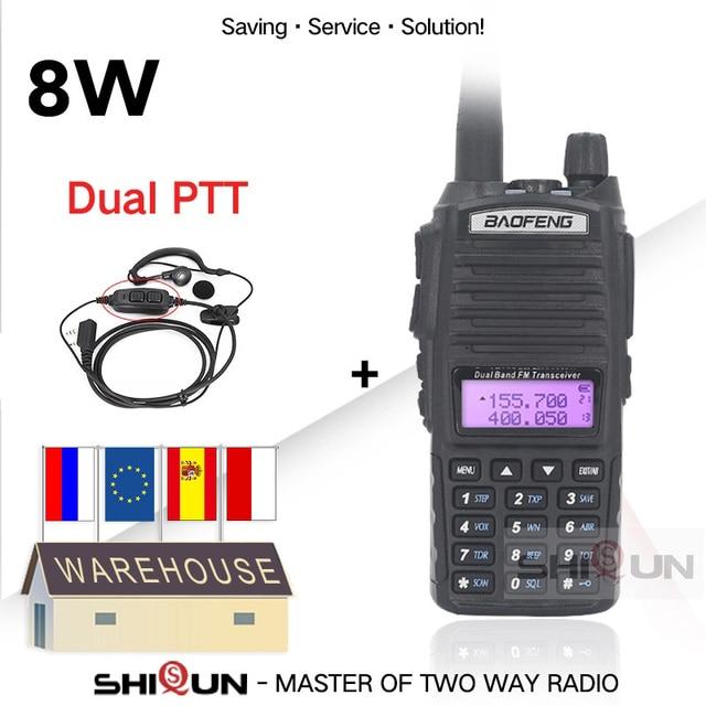 BaoFeng Walkie Talkie UV 82 Upgrade 8W Baofeng UV 82 Dual PTT Headset Mic Walkie Talkie 10 KM Baofeng 8W Radios baofeng uv 9r 5R
