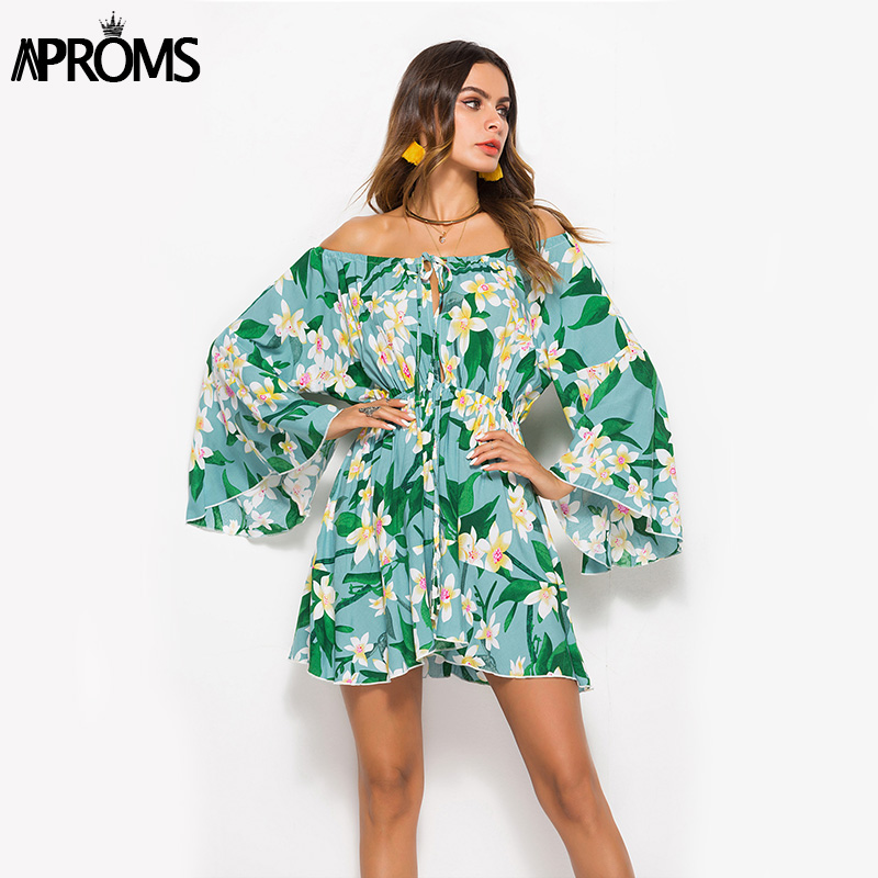 Aproms Summer Flare Sleeve Sunflower Print Dress Women Long Sleeve Off Shoulder Loose Dress 2020 Female Beach Streetwear Dresses