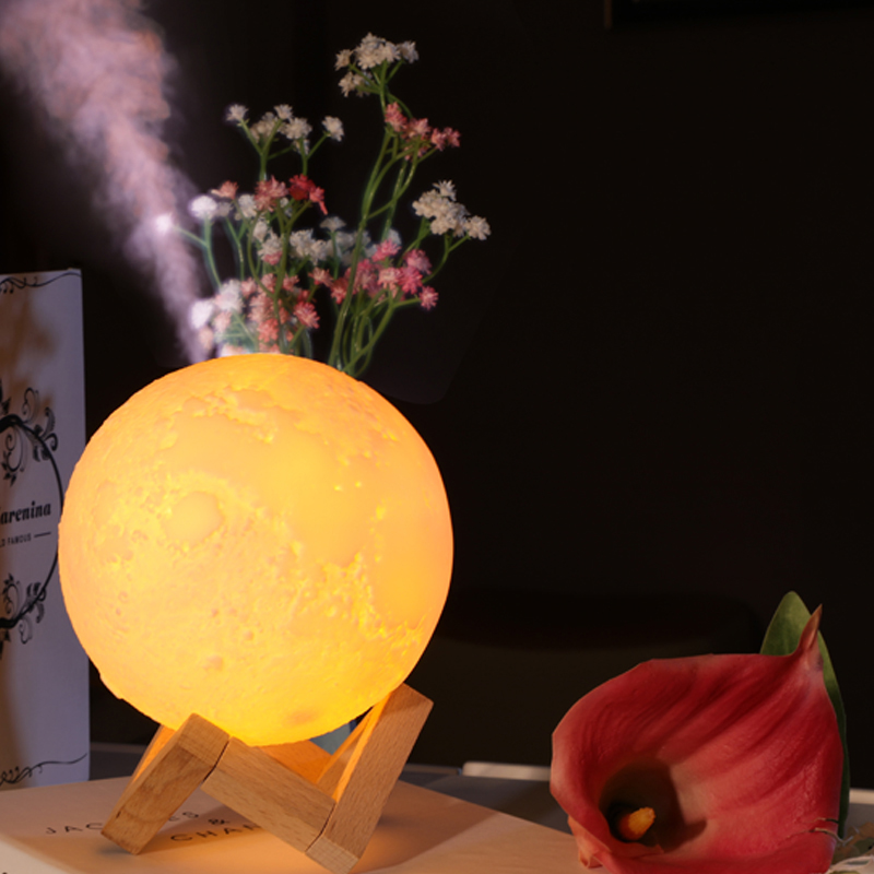 New 880ML Air Humidifier 3D Moon Night Light Diffuser Aroma Essential Oil USB Rechargeable Atmosphere Dimming Lamp