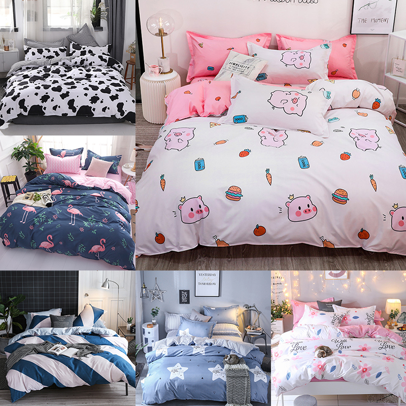 Cartoon Cute Pig Bed Linens Comforter Bedding Sets Luxury Gift For Girls Pink Duvet Cover Bed Sheets Kids Queen King Size 3/4pcs