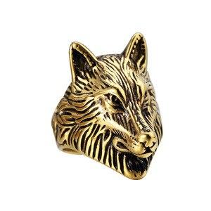 Хип-хоп золотой кольцо из нержавеющей стали 316L для мужчин Готический рокер металлический хиппи хипстер голова Волка Байкер мужской палец ю...