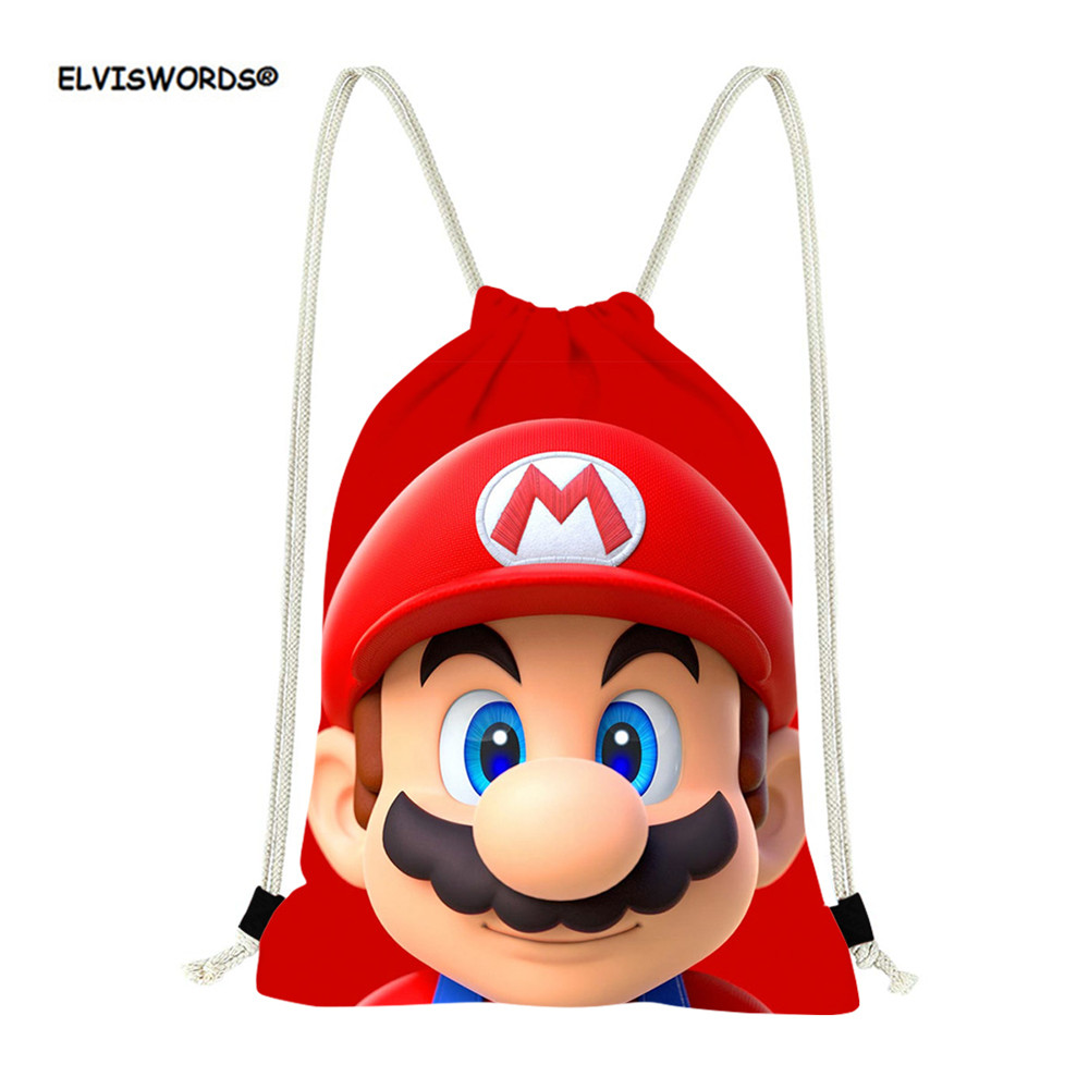 ELVISWORDS Anime Super Mario Bros Drawstring Bags Kids Small Backpack Schoolbags Children Cinch Pocket Mochila Sport Fitness Bag