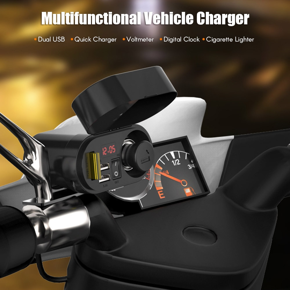 Motorcycle Accessories Dual USB Charger Socket LED Voltmeter Cigarette Lighter Waterproof Handlebar Clamp Power Adapter
