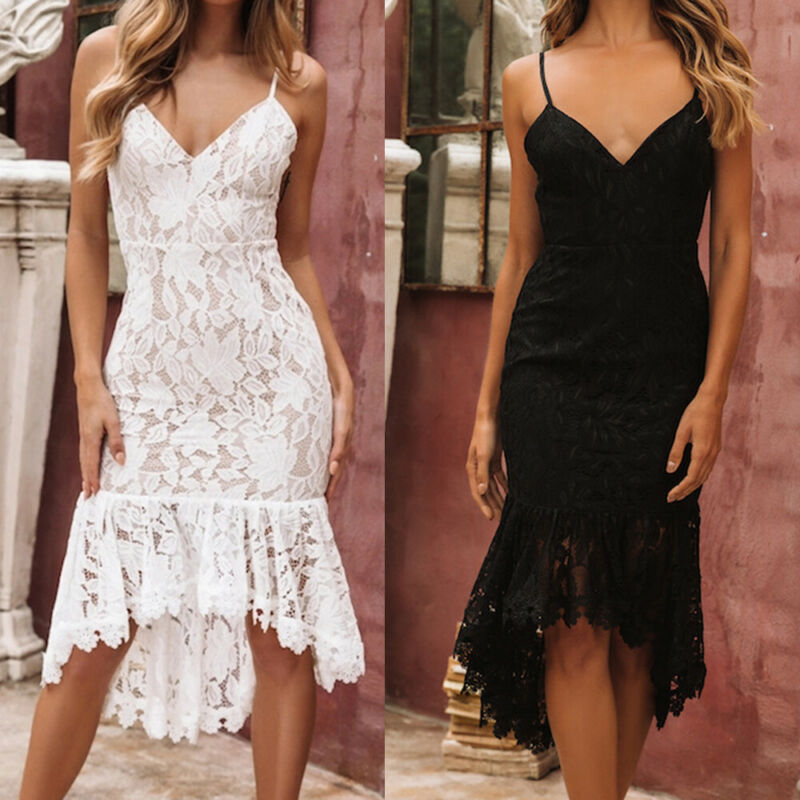 <font><b>Sexy</b></font> Lace Floral <font><b>Dress</b></font> Women Spaghetti Strap Sleeveless <font><b>Deep</b></font> <font><b>V</b></font> Neck Backless Patchwork Ruffles <font><b>Dresses</b></font> Fashion Party Vestidos image