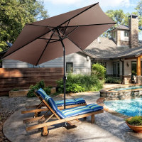 Costway 10FT Patio Umbrella 6 Ribs Market Steel Tilt W/ Crank Outdoor Garden Tan|  -