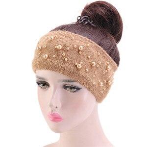 Новый осенне-зимний вязаный ободок для волос, женские аксессуары для волос из кроличьего меха, эластичный широкий ободок для волос, повязка ...