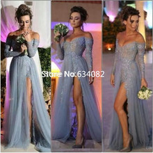 Fashion Sexy Long Sleeves Party A Line Off Shoulder High Slit Vintage Lace Grey Prom Long gown 2018