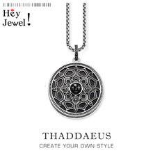 Ожерелье с кулоном лотос черный классическая цепочка модные ювелирные изделия Томас стиль 925 серебро Bijoux подарок для женщин